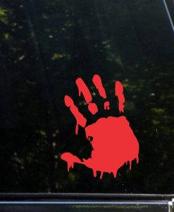 Bloody Hand Print Zombie Stickers - //customstickershop.us/product-category/zombie-stickers/