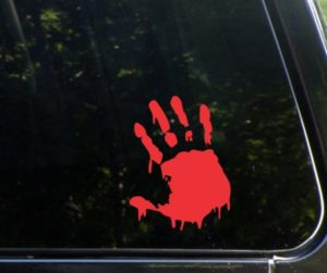 Bloody Hand Print Zombie Stickers - https://customstickershop.us/product-category/zombie-stickers/