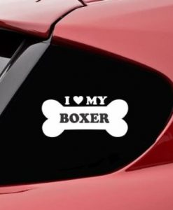 Love my Boxer Bone Window Decals - //customstickershop.us/product-category/animal-stickers/