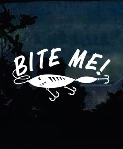 Bite Me Funny Fishing Lure Decal Sticker