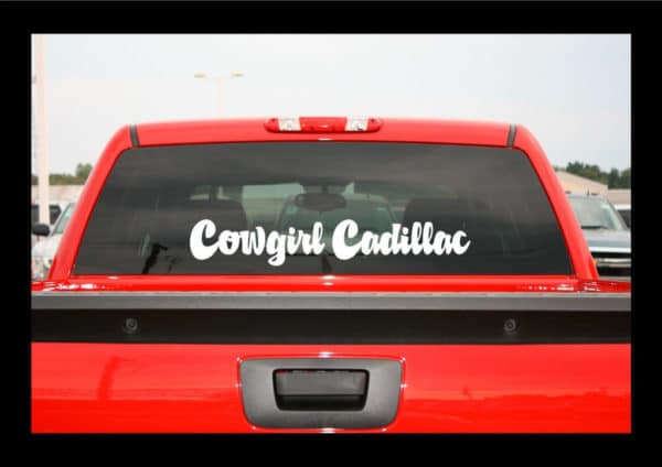Cowgirl Cadillac Vinyl Decal Stickers - Truck decals