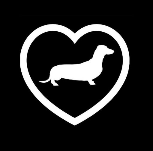 Dachshund Heart Window Decals - https://customstickershop.us/product-category/animal-stickers/