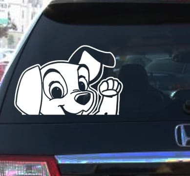 Dalmatian Waiving Window Decals - https://customstickershop.us/product-category/animal-stickers/