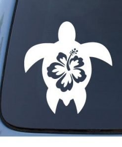 Hawaii Hibiscus Turtle Car Decal - https://customstickershop.us/product-category/stickers-for-cars/