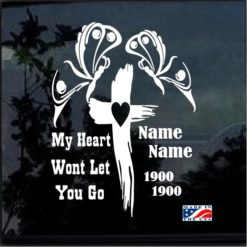 In Loving Memory Cross and Butterfly Decal Sticker
