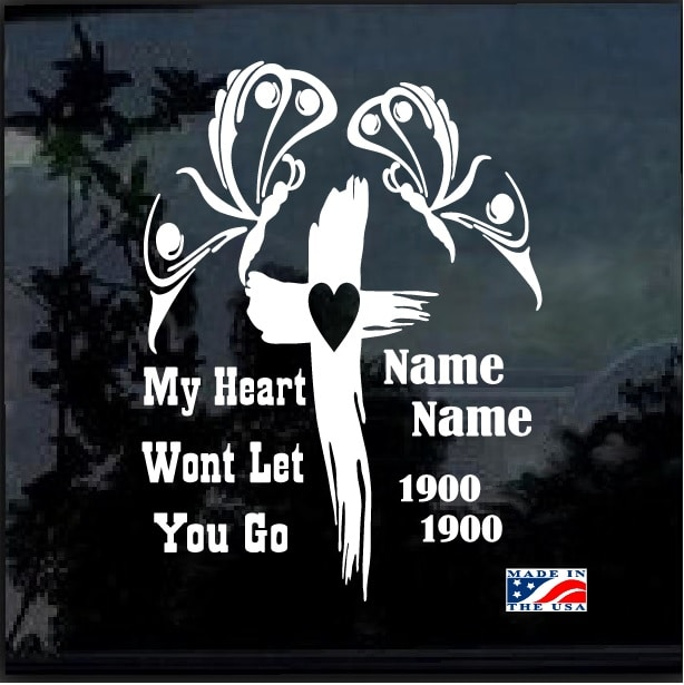 In Loving Memory Car Decals >> Butterfly Cross In Loving Memory Window Decal Sticker