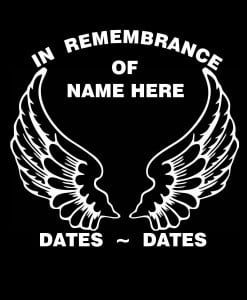 In Loving Memory Vinyl Decal Stickers Angel Wings