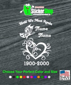 In Loving Memory Vinyl Decal Stickers Heart Butterfly
