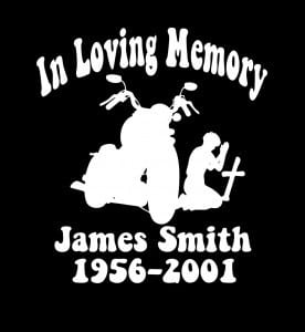 Motorcycle Cross In Loving Memory Window Decal Sticker