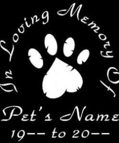 In Loving Memory Vinyl Decal Stickers Pet