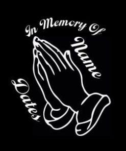 In Loving Memory Vinyl Decal Stickers Praying Hands