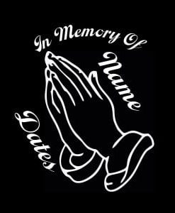 In Loving Memory Vinyl Decal Stickers Praying Hands