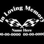 Racing Flags In Loving Memory Window Decal Sticker