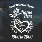 Heart Butterfly In Loving Memory Window Decal Sticker