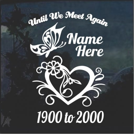 In Loving Memory decal sticker Butterfly and heart