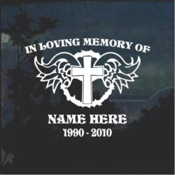 In loving memory decal sticker cross and angel wings