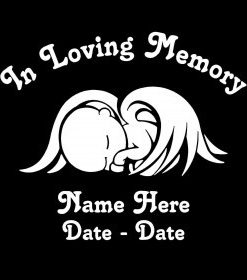 In loving Memory Decal Baby Wings - //customstickershop.us/product-category/in-loving-memory-decals/