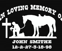 In loving Memory Decal Cowboy Cross ii - https://customstickershop.us/product-category/in-loving-memory-decals/