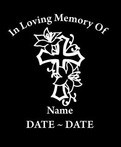 loving Memory Decal Cross Roses - //customstickershop.us/product-category/in-loving-memory-decals/