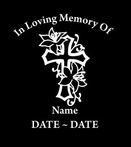 In Loving Memory Car Decals >> Cross Roses In Loving Memory Window Decal Sticker
