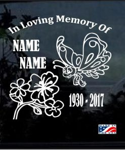 In loving memory decal sticker butterfly and flower