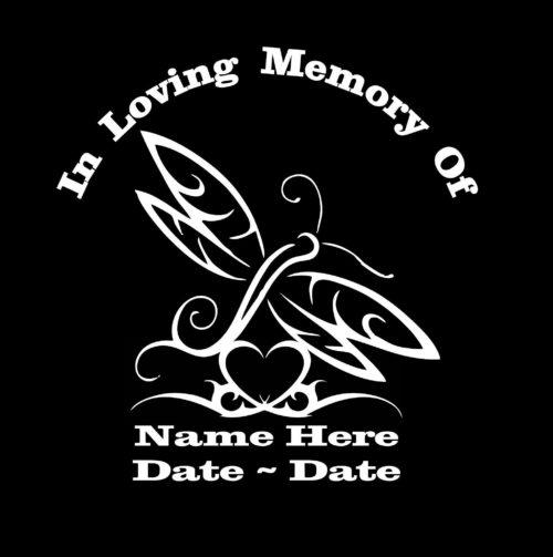 In loving memory decal sticker tribal butterfly