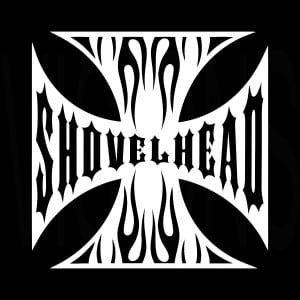 Maltese Cross Shovel head Vinyl Decal Stickers