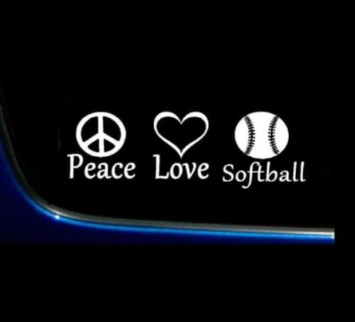 Peace Love Softball Decal Sticker - https://customstickershop.us/product-category/stickers-for-cars/