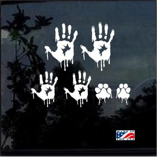 Zombie Hand print Family Window Decal Sticker