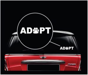 adopt dog paw pet window decal sticker