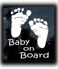 Baby On Board footprints Sticker - https://customstickershop.us/product-category/baby-decal-stickers/