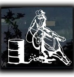 Barrel Racer Window Decal Sticker - https://customstickershop.us/product-category/western-decals/