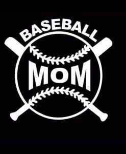Baseball Mom Crossed Bats Decal - //customstickershop.us/product-category/family-sports-stickers/