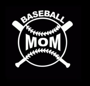 Baseball Mom Crossed Bats Decal - https://customstickershop.us/product-category/family-sports-stickers/