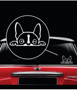 boston terrier peeking vinyl window decal stickerboston terrier peeking vinyl window decal sticker