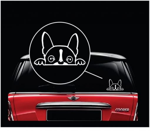 boston terrier peeking vinyl window decal stickerboston terrier peeking vinyl window decal sticker