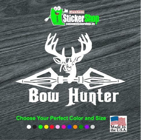 bow hunter broad head deer decal sticker