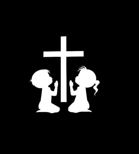 Children Praying Window Decal Sticker