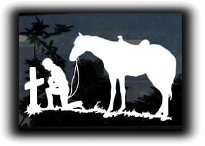 Cowboy Prayer Truck Decal Sticker - https://customstickershop.us/product-category/western-decals/