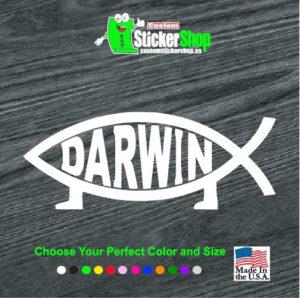 darwin fish window decal sticker