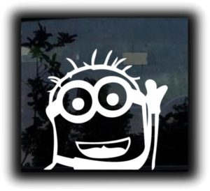 Despicable Monion Waiving Decal - https://customstickershop.us/product-category/stickers-for-cars/