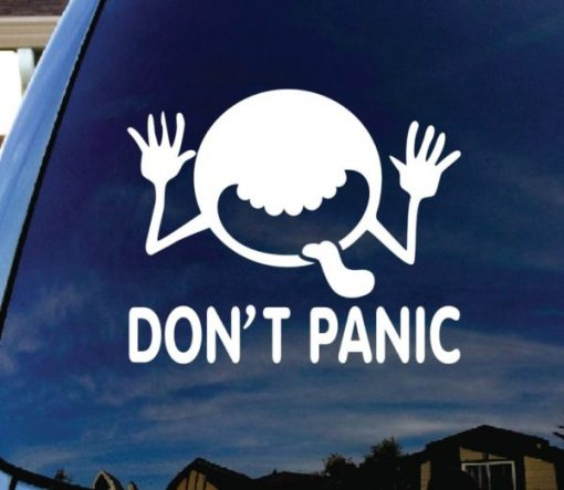 Dont Panic Hitchhikers Guide Sticker - https://customstickershop.us/product-category/stickers-for-cars/