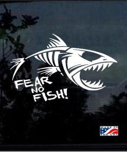 fear no fish skeleton window decal sticker