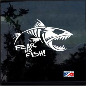 fear no fish skeleton window decal sticker