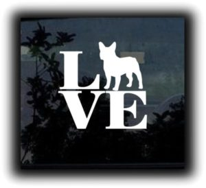 Bulldog Love Window Decal Sticker - https://customstickershop.us/product-category/animal-stickers/