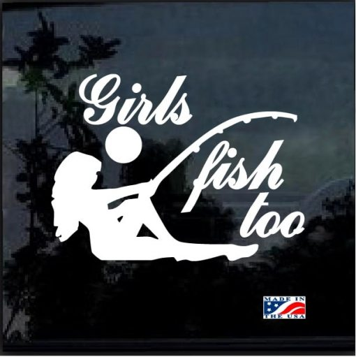 Girls Fish too Funny window decal 1