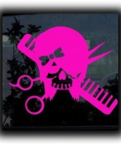 Hair Skull Beautician Decal Sticker - https://customstickershop.us/product-category/career-occupation-decals/
