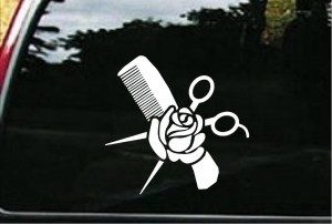 Hair Stylist Comb and Rose Decal - https://customstickershop.us/product-category/career-occupation-decals/