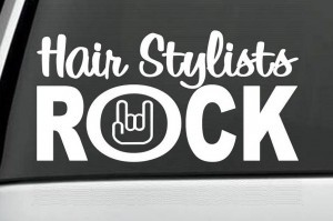 Hair Stylist Rock Beautician Decal - https://customstickershop.us/product-category/career-occupation-decals/