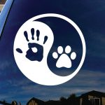 Hand Paw Yin Yang Decal Sticker - https://customstickershop.us/product-category/animal-stickers/